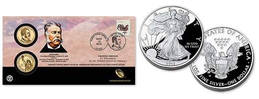 US Mint 2012 Proof Silver Eagle and Chester Arthur $1 Coin Cover