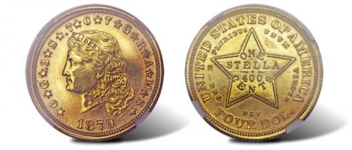 1879 Flowing Hair Stella in gilt copper