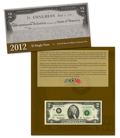 2012 $2 Single Note