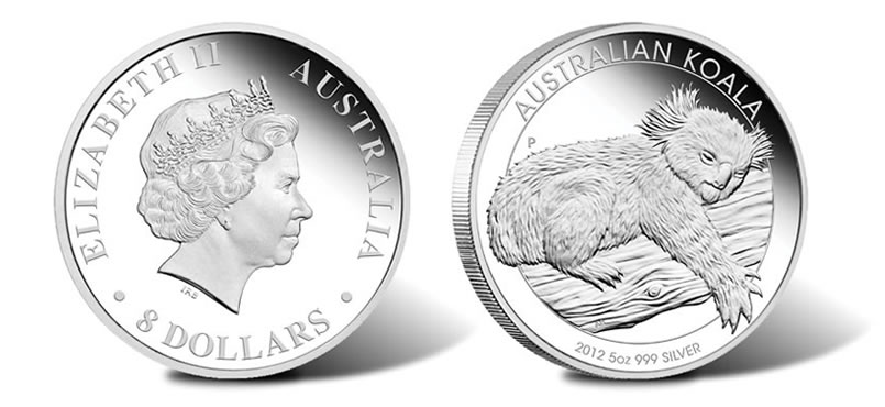 2012 Australian Koala 5 Oz And Gilded Silver Coin Issues