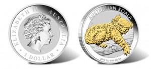 2012 Australian Koala Gilded Silver Coin