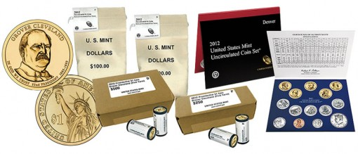 2012 Mint Set and Grover Cleveland $1 rolls, bags and boxes