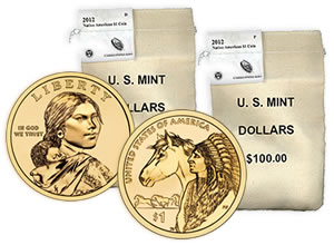 Bags of 2012 Native American $1 Coins
