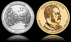 Chaco Culture Quarter and Chester Arthur Presidential Dollar
