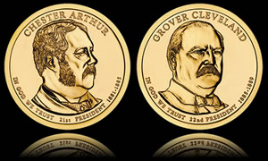 Chester Arthur and Grover Cleveland Presidential $1 Coins