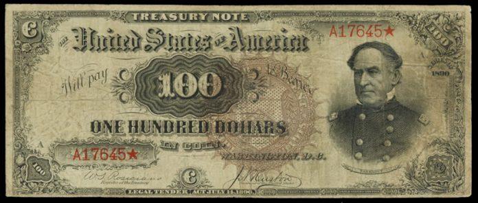 Fr.377 1890 $100 Treasury Note Obverse