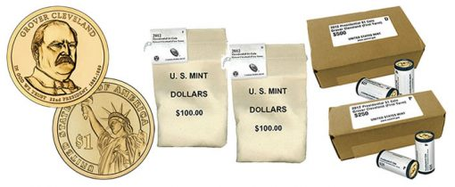 Grover Cleveland Presidential $1 coin, rolls, bags and boxes