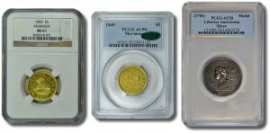 Mormon $5 Gold Coins and Libertas Americana medal