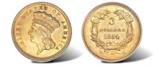 Near-Mint 1854-D Three Dollar