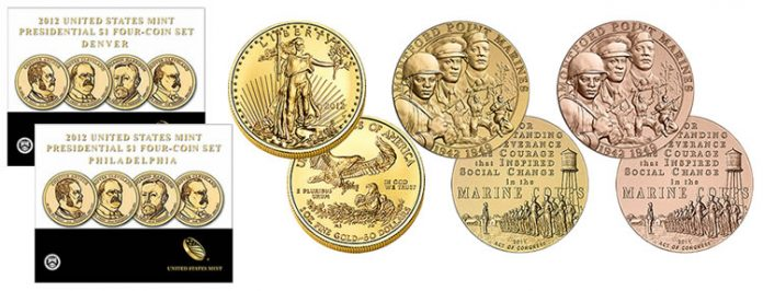 $1 Coin Sets, 2012-W Gold Eagle, Marines Medals