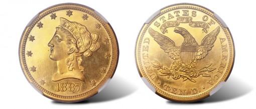 1887 $10 PR65 Cameo NGC