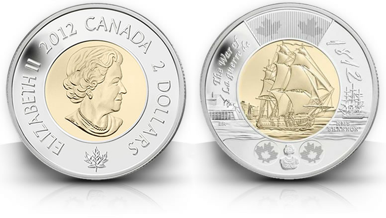 Canadian Hms Shannon 2 Coin Commemorates War Of 1812