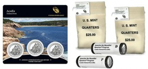 2012 Acadia Quarter - Three-Coin Set, Bags and Rolls