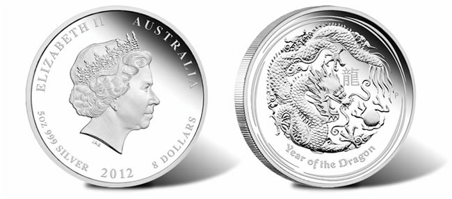 2012 Australian Year of the Dragon Five Ounce Silver Proof Coin