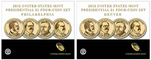2012 P&D Presidential $1 Four-Coin Sets