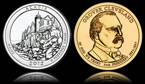 Acadia Quarter and 2nd Term Grover Cleveland Presidential Dollar