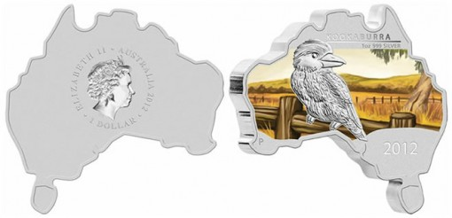 Australian Map Shaped Kookaburra Coin