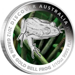 Green and Gold Bell Frog Platinum Proof Coin