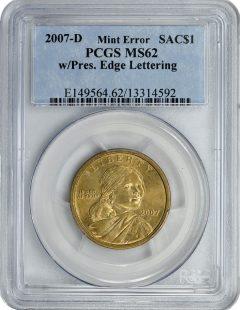 PCGS Slabbed 2007-D $1 Sacagawea Error Coin