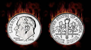 2012 Roosevelt Dime on Fire