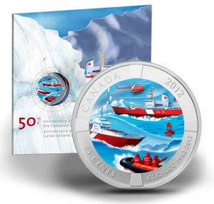 25-Cent 50th Anniversary of the Canadian Coast Guard Coloured Coin