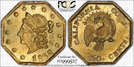 California Fractional Gold Coin - 1858 50c BG-302 MS63