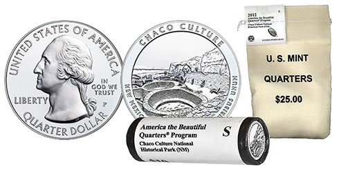 Chaco Culture 5 Oz. Coin, Quarter Roll and Bag