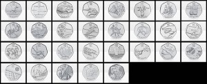 Circulating London 2012 Olympic and Paralympic 50p Commemorative Coins