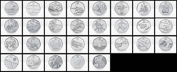 London 2012 Olympic 50p Commemorative Coins Popular Coin
