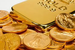 Gold Bar and US Gold Eagle Coins