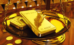 Gold Bars on Scale