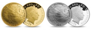 London 2012 UK 5 Oz Gold and Silver Proof Coins