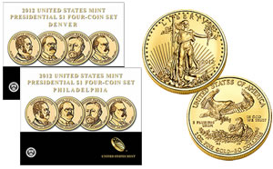 Presidential $1 Coin Sets and the  2012-W American Gold Eagle Uncirculated Coin