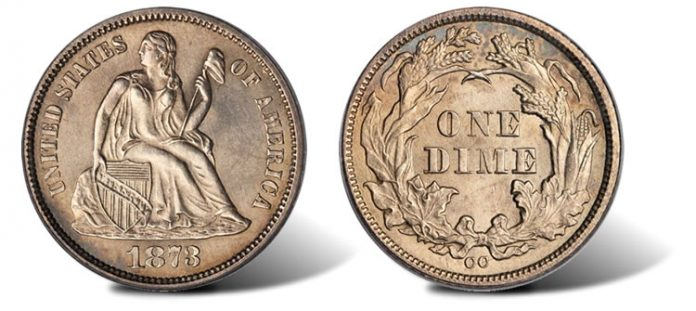 1873-CC No Arrows Liberty Seated dime