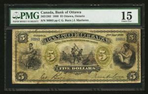 1880 Bank of Ottawa $5