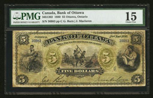 1880 Bank of Ottawa $5