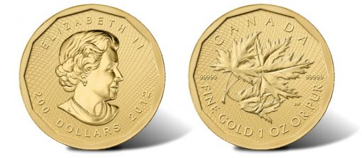 2012 .99999 Canadian Gold Maple Leaf bullion coin