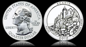 2012 Acadia National Park Five Ounce Silver Coin