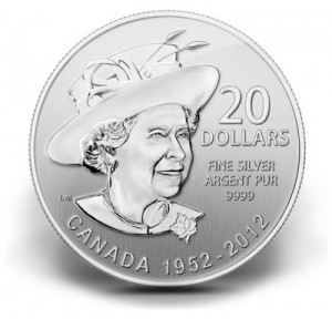 2012 Canadian $20 Queen's Diamond Jubilee Silver Coin