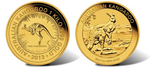 2013 Australian Kangaroo Gold Bullion Coins, 1 Kilo and 1 Ounce