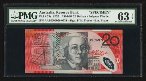 Australia Reserve Bank 20 Dollars