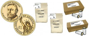 Benjamin Harrison Presidential $1 Coins in Rolls, Bags and Boxes
