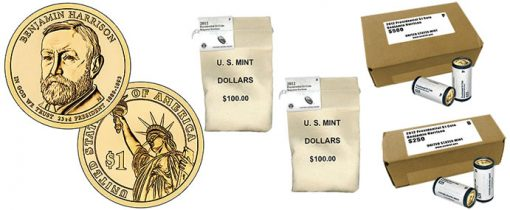 Benjamin Harrison Presidential $1 Coin, Rolls, Bags and Boxes