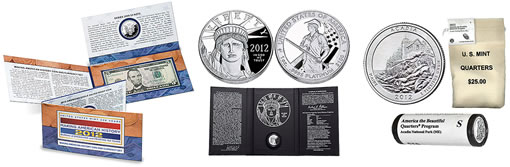 Coin and Currency Set, 2012-W Platinum Eagle and 2012-S Acadia Quarters
