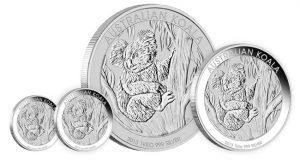 Four 2013 Australian Koala Silver Bullion Coins