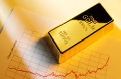 Graph and gold bar