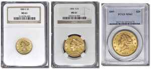 Liberty Head $5, $10 and $20 Certified Gold Liberty coins