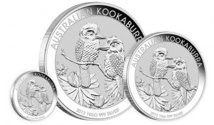 Three Sizes of 2013 Australian Kookaburra Silver Bullion Coins