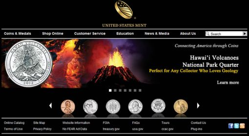 US Mint Website - Hawaii Quarter Featured