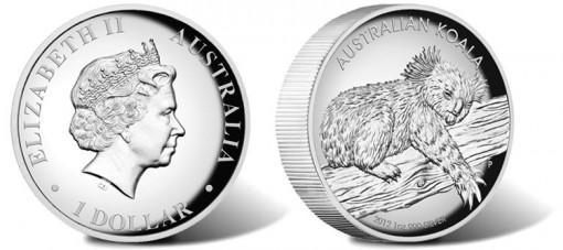 2012 Australian Koala High Relief Silver Proof Coin